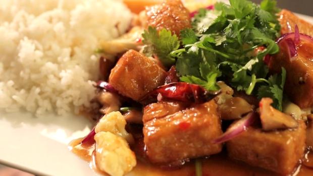 Tofu skvětákem ahoubami shitake