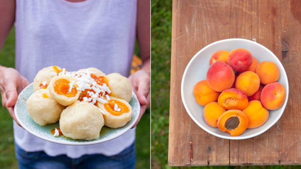 Bramborové meruňkové knedlíky
