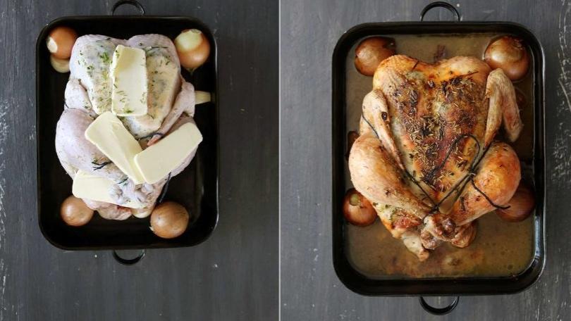 Pečené máslové kuře s bylinkami