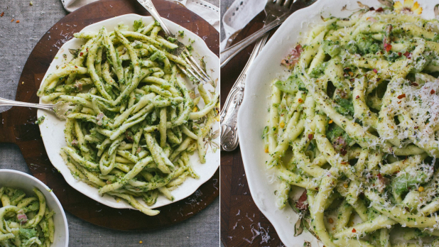 Těstoviny s brokolicí a slaninou