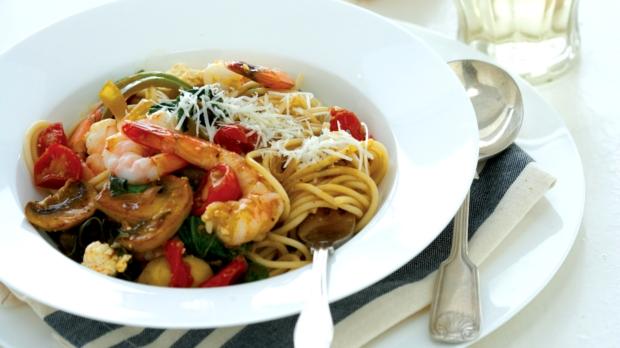 Špagety s krevetami ašpenátem