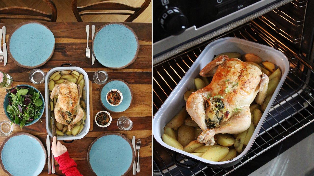 Pečené jarní kuře snádivkou