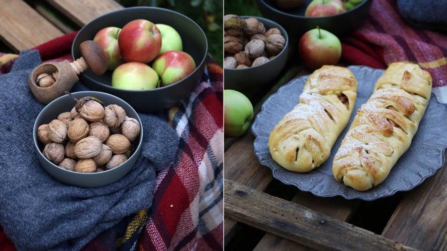 Šlehačkový závin s jablky