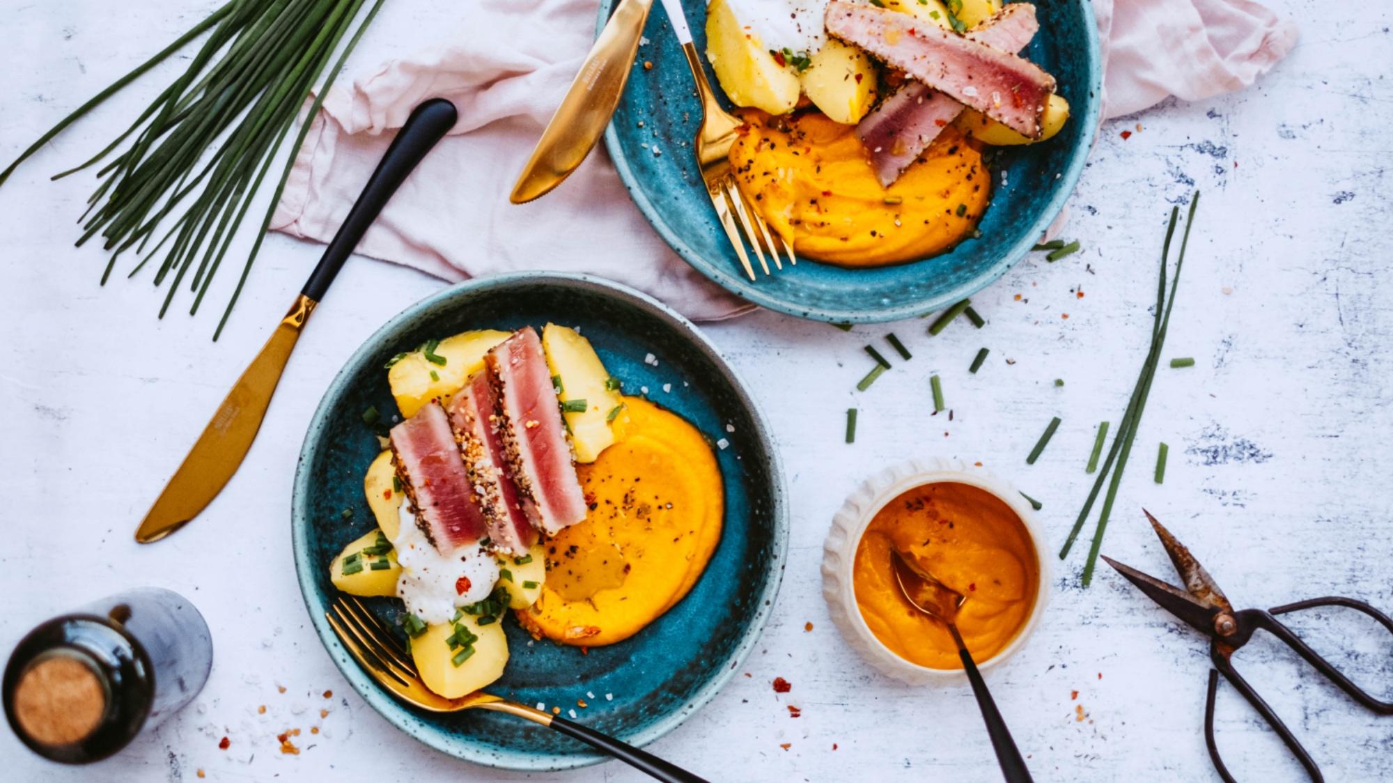 Steak z tuňáka sdýňovým pyré