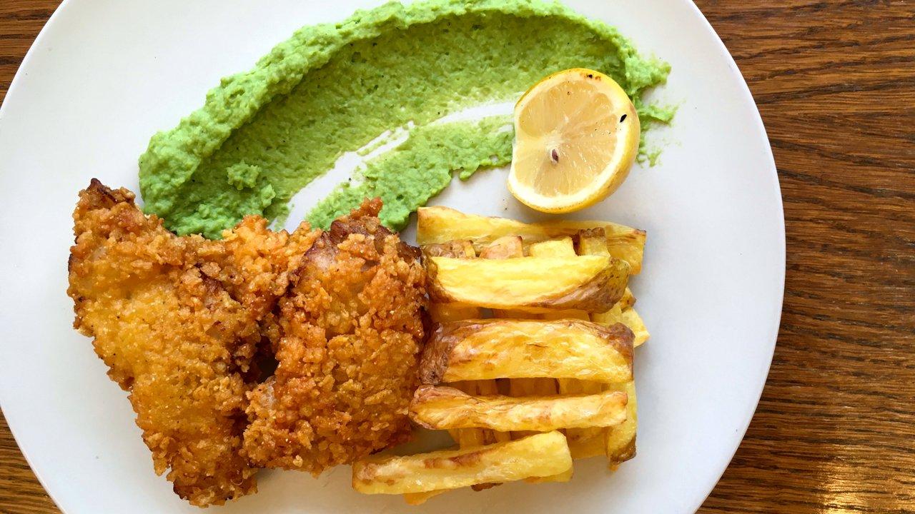 Bezlepkové fish & chips shráškovým pyré