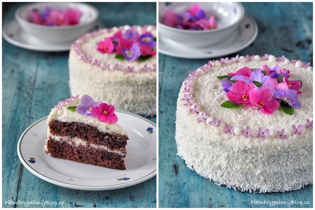 Kakaový dort skokosovým krémem