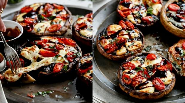 Plněné Portobello houby ve stylu caprese