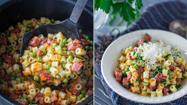 Těstoviny s hráškem a klobásou