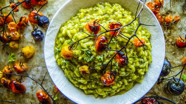 Rizoto se špenátovým pestem