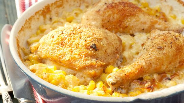 Smetanové kuře zapečené s kukuřicí