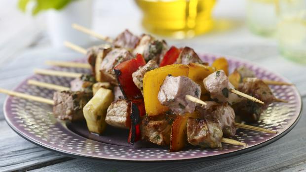 Špíz z marinované zeleniny s kuřetem