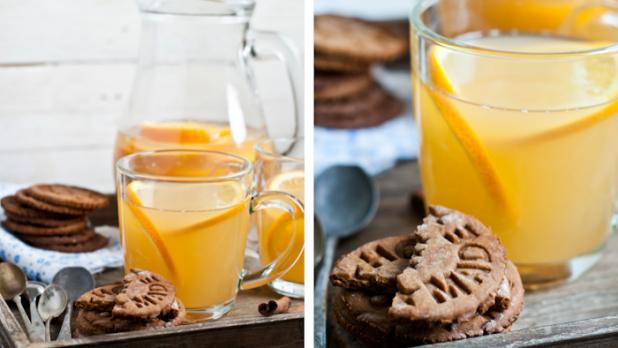 Zázvorové sušenky a kořeněný jablečný mošt