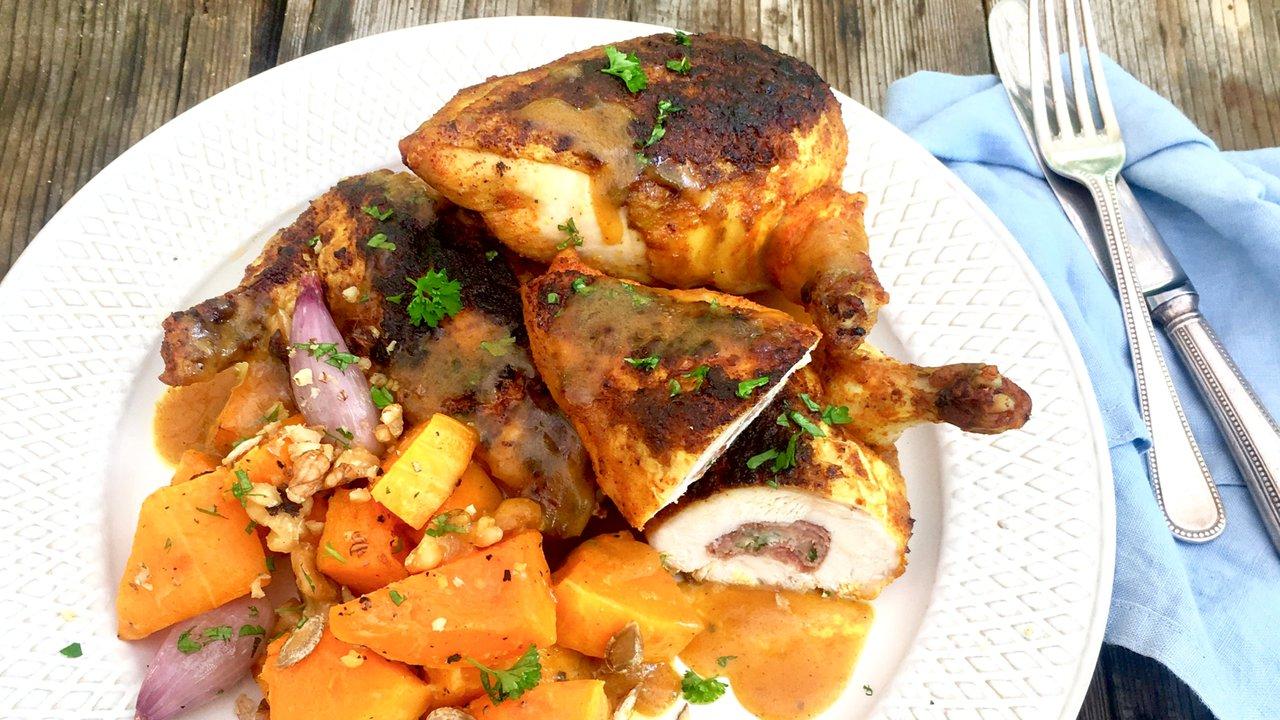 Špikované kuřecí supreme s pečenou máslovou dýní