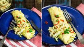 Omeleta plněná salátkem z bílého zelí s mangovým dipem Foto: