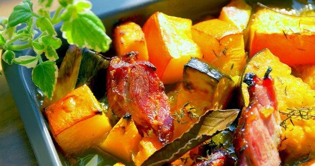 Pečená dýně se šunkou a pomerančovou marmeládou  Foto: