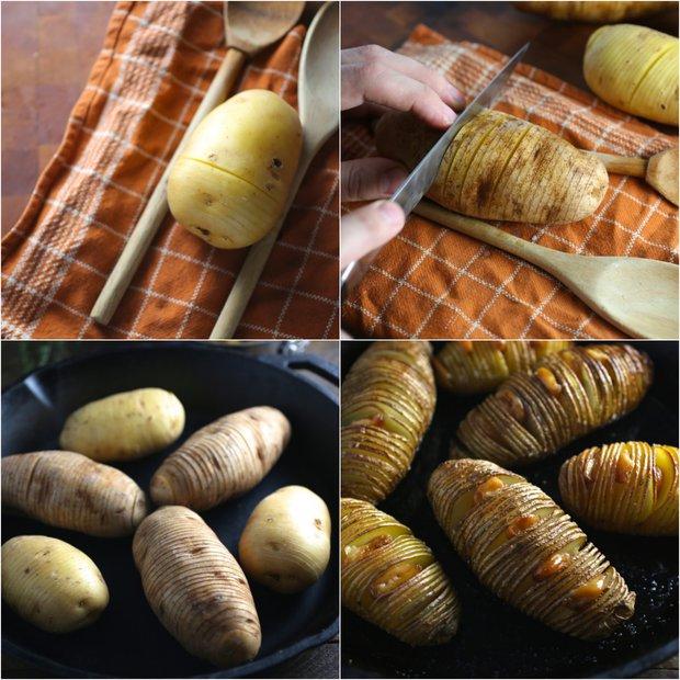 Hasselback brambory s konfitovaným česnekem 2 Foto: