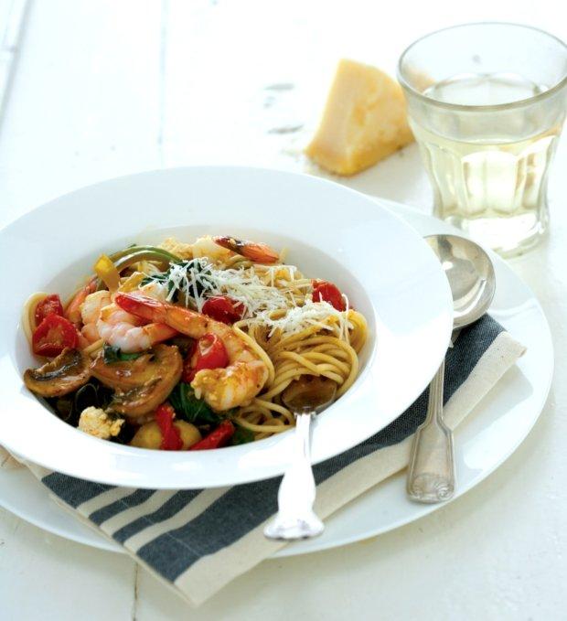Špagety s krevetami a špenátem Foto: