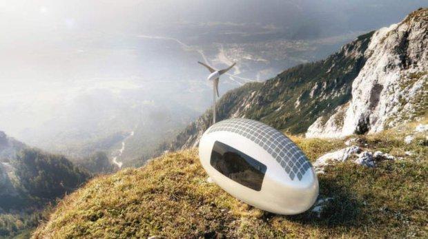 Futuristicky vyhlížející EcoCapsule si veškerou energii dokáže vyrobit sáma. Starají se o to do střechy integrované fotovoltaické články i vlastní větrník se sníženou hladinou hluku. Přebytečná energie směřuje do baterie o kapacitě 10kWh Foto: