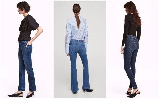 Rovné dříny H&M 999 Kč, džíny do zvonu Mango 899 Kč, skinny džíny H&M 1299 Kč  Foto: