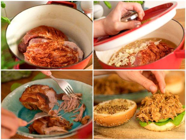 Trhané vepřové maso pečené v jablečném moštu  Foto: