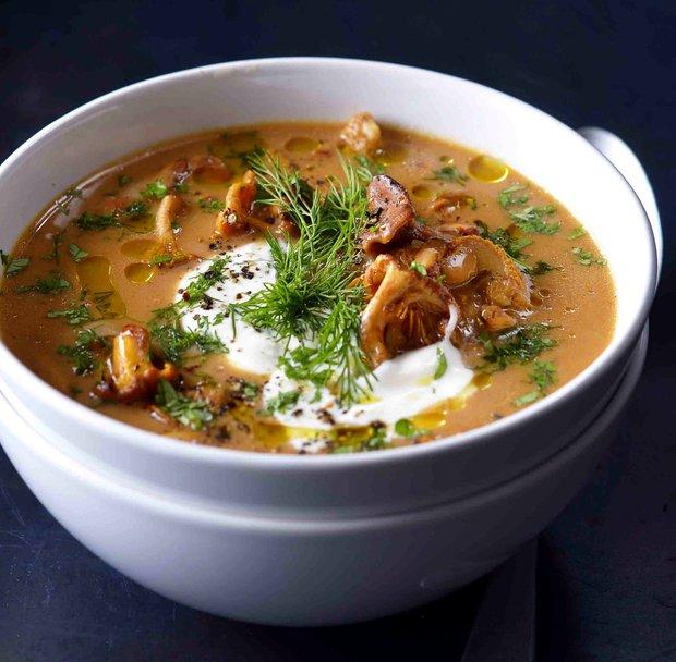 Maďarská houbová polévka s čerstvým koprem  Foto:
