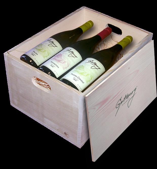Dárková dřevěná krabice s 6 víny Gotberg z ročníku 2015, gotberg.cz/obchod, cena 1599 Kč Foto: