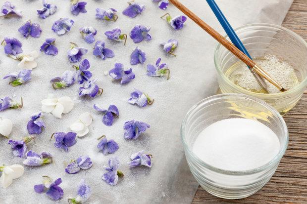 Zkuste fialky konzervovat tzv. krystalizací
