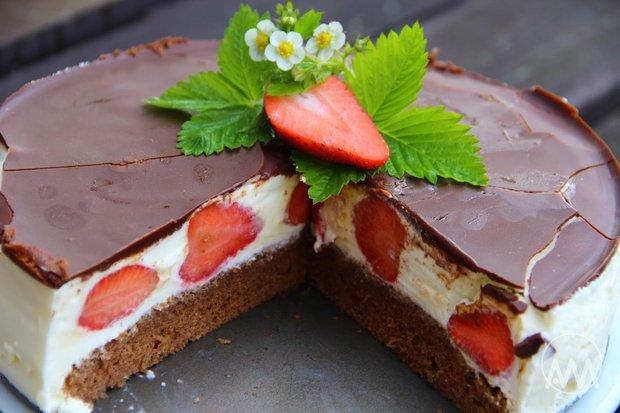 Tvarohový dort Míša s jahodami 2 Foto: