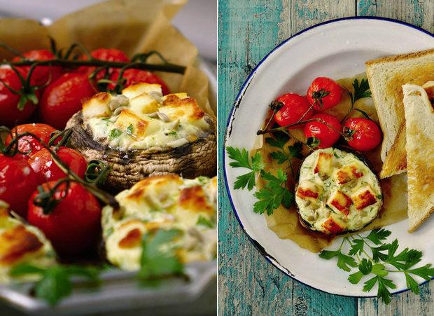 Portobello s petrželovou ricottou a sýrem halloumi 2 Foto: