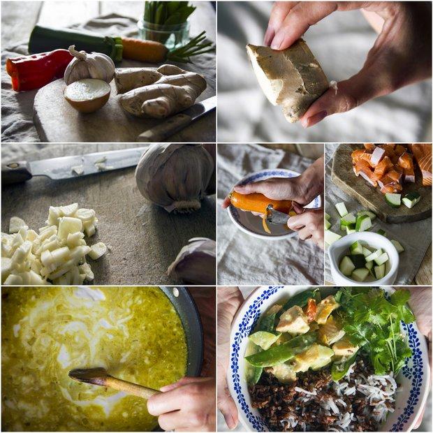 Curry s lososem, kokosovým mlékem a hráškovými lusky  Foto: