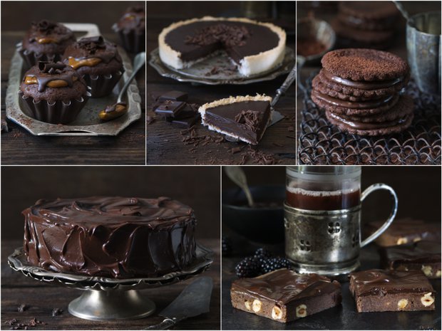 čokoládové recepty koláž Foto: