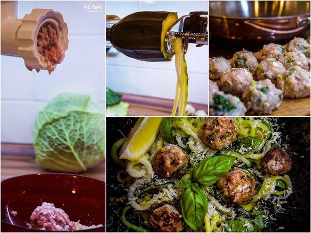 Cuketové špagety s kuřecími kuličkami s fetou a kapustou  Foto: