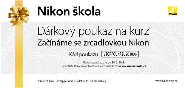 Dárkový poukaz na kurz v Nikon škole, nikonskola.cz, lze zakoupit online na konkrétní termín vybraného kurzu nebo na na hodnotu 1 490 Kč, 2 990 Kč nebo 3 990 Kč.  Foto: