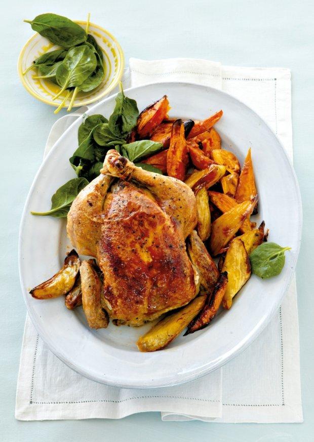 Pečené kuře s nádivkou z fazolí, špenátu a ořechů  Foto:
