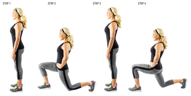 Lunges-in-steps Foto: