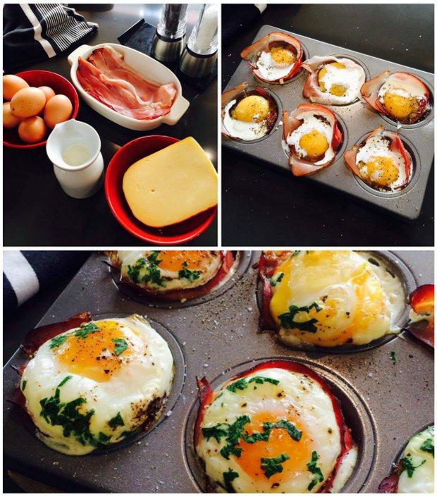 Pečené vejce v šunkovém hnízdě  Foto: