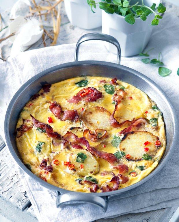 Slovenská omeleta s bramborem a slaninou  Foto: