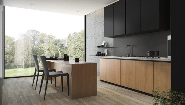 Kdo miluje černou, může ji mít i v kuchyni. Ideálně v kombinaci se dřevem... Foto: