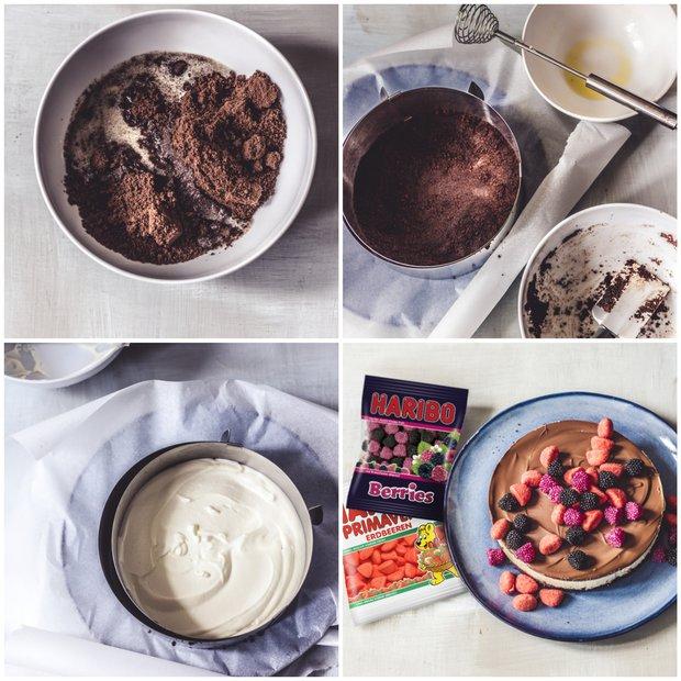 Svěží tvarohový dort s jahůdkami a ostružinami  Foto: