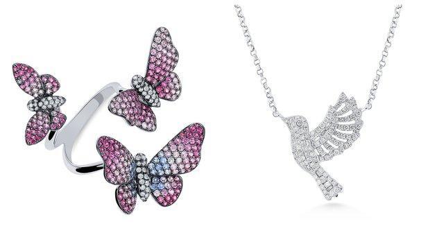 Prsten s motýly, zlatý přívěsek holubice, oboje  ALO diamonds, info o ceně v prodejně Foto: