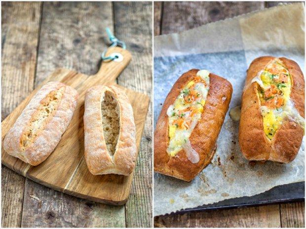 Vejce s lososem a kozím sýrem zapečené v chlebu  Foto: