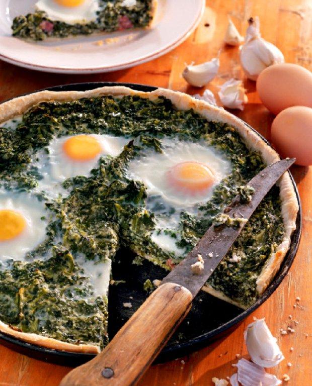 Špenátový quiche se šunkou a vejci  Foto: