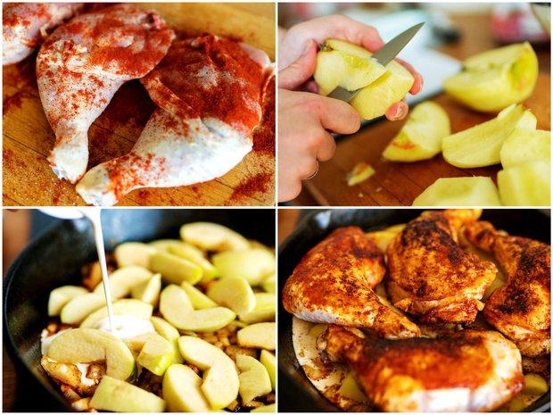 Kuře pečené na jablkách  Foto: