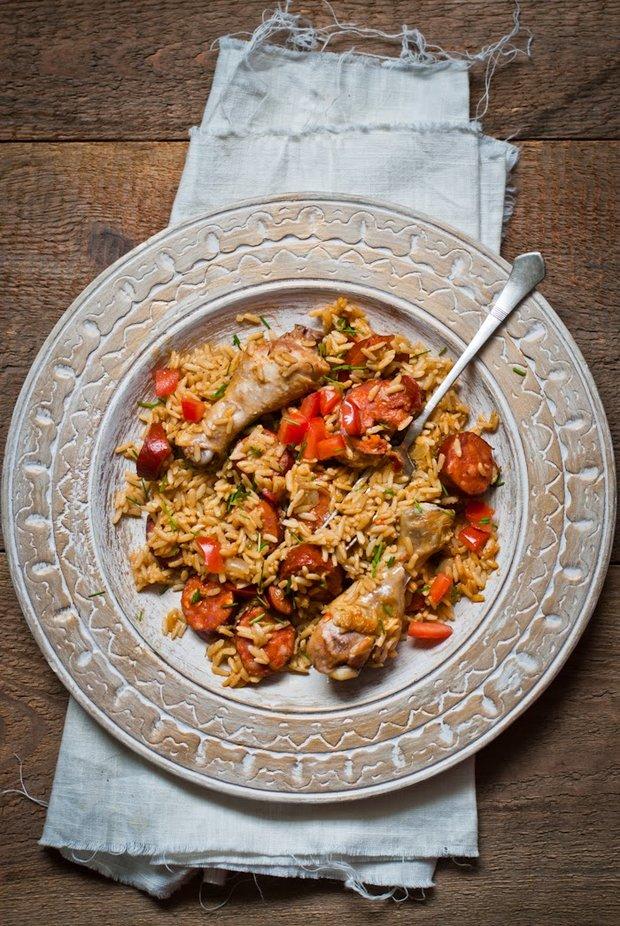 Paella s kuřecími paličkami a chorizem  Foto: Sweet pixel blog