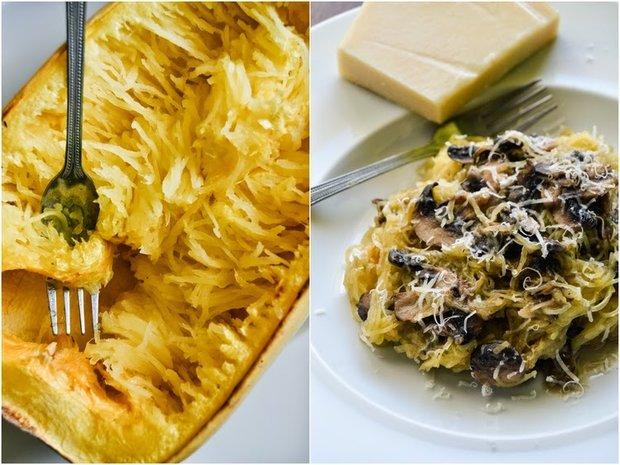 Špagetová dýně s parmazánem a česnekovými houbami Foto:
