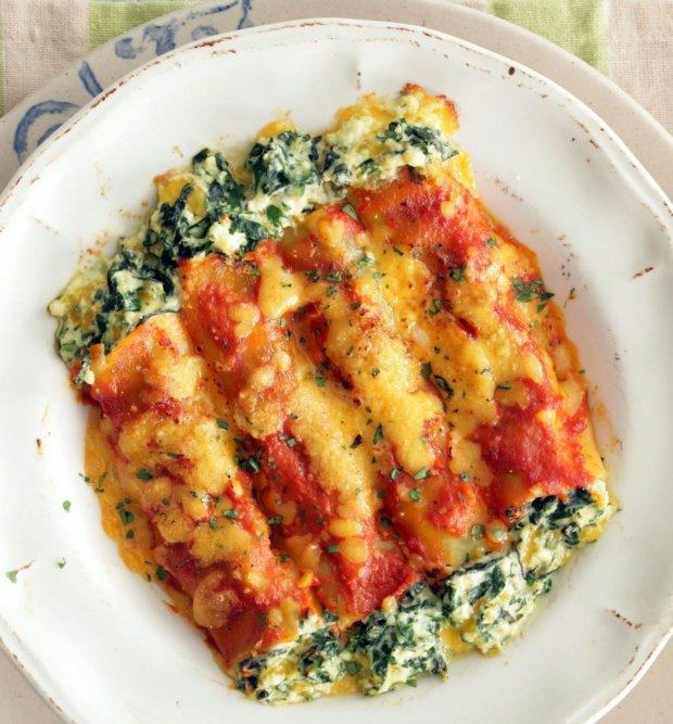Krémové špenátové cannelloni v rajčatové omáčce Foto: