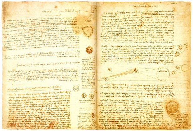 Leicesterský kodex rozhodně není snadné čtení. Už proto, že ho Leonardo da Vinci psal zprava doleva a ještě k tomu zrcadlově převráceným písmem Foto:
