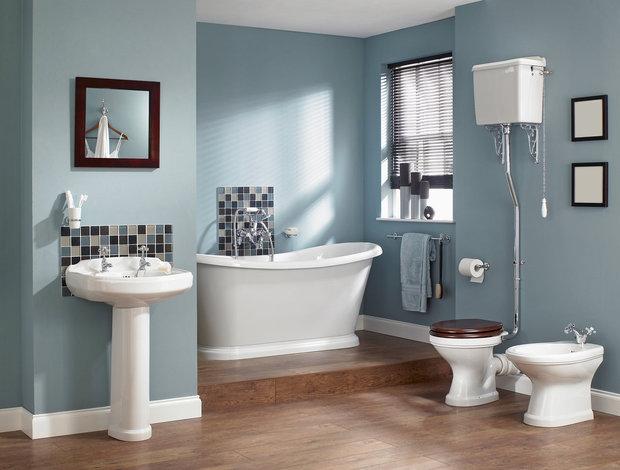 Příjemný pastelový odstín v útulné koupelně Foto: