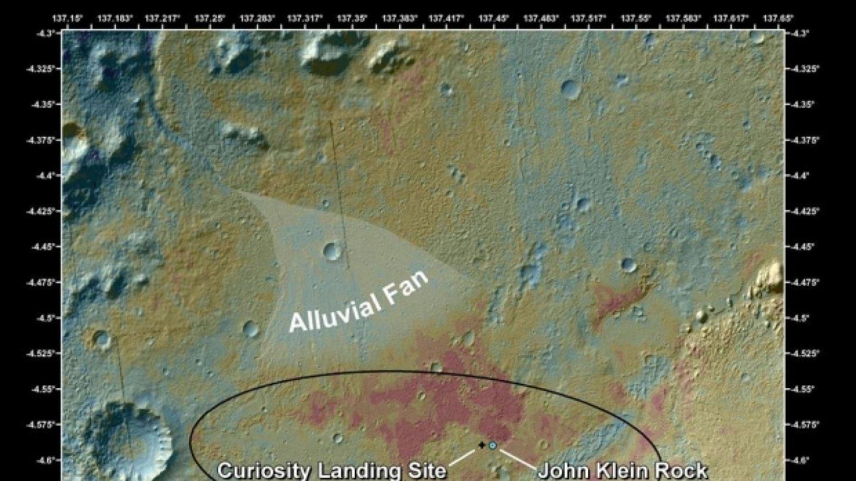 Místo, kde sonda Curiosity v Galeově kráteru poprvé vrtala.FOTO: NASA