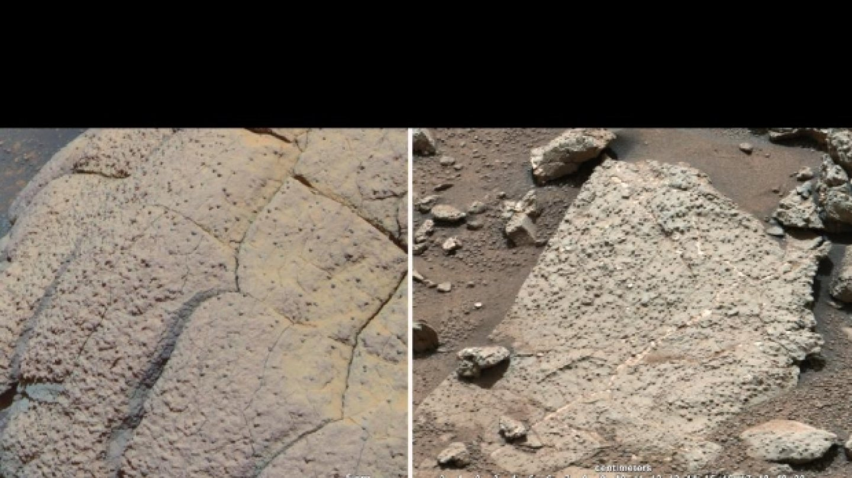 Srovnání dvou záběrů na marsovský povrch. Vlevo fotka sondy Opportunity, vpravo sondy Curiosity.